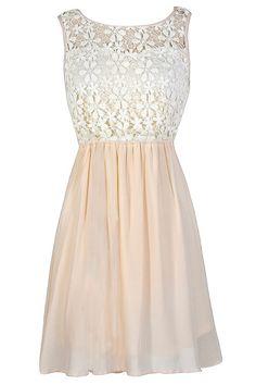 Flower Chain Crochet Lace Dress in Blush