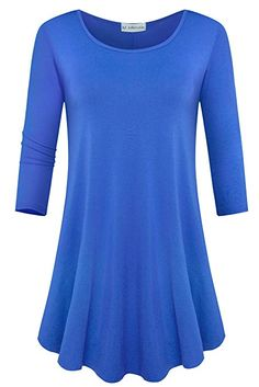 JollieLovin Womens Sleeve Loose Fit Swing Tunic Tops Basic T Shirt (Deep Sky Blue, Long Sleeve Flowy Dresses, Short Dresses, Long Sleeve Tee Shirts, Long Sleeve Tops, Tunic Tops For Leggings, Outfits Plus Size, Western Wear For Women, Winter Outfits Women, Sweaters For Women