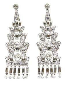 Pair of Art Deco tier and fringe diamond pendant earrings, c.1925. S.J. Phillips Ltd.