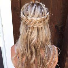 boho braid crown | half up half down hairstyle | #promhair #braidedhairstylesboho