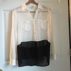 For Sale: Black & White Sheer Top for $15