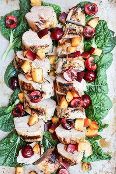 Grilled Pork Tenderloin with Peach-Cherry Salsa   www.floatingkitchen.net