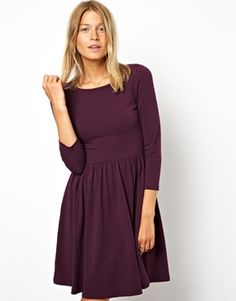 ASOS+Skater+Dress+With+Slash+Neck+And+3/4+Sleeves
