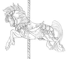 Carousel Horse Tattoo Page Coloring Pages