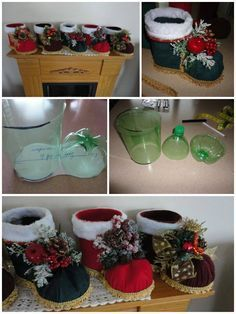 What an amazing idea to recycle plastic bottle into this festive decorative Santa boots! Make them as Christmas decorations or Change the fabric to make them as everyday desk decol or organizer, sorry that we can not get the original source to credit back, and I translate it into English …