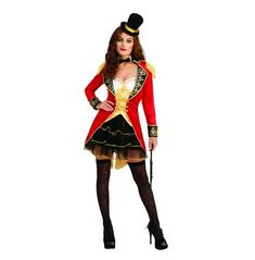 Control the circus and be an awesome entertainer this Halloween. Buy the Big Top Tease Ring Master today! This four-part red gold black and white ensemble features a top hat a dress a jacket and a collar. Wear leggings or stockings and boots to complete the look. spot clean