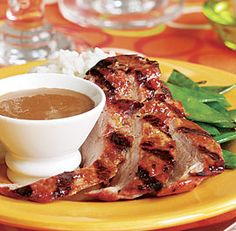 Grilled Asian Pork Tenderloin with Peanut Sauce Recipe (per serving): less than 550 calories for dinner; 5 g or less saturated fat; sodium mg less than the total calorie count; cholesterol 300 mg or less; minimal added sweeteners. Recipes that fall squarely within these criteria are marked with a green icon; those that are slightly outside them for one nutrient get a yellow icon.  Grilled Asian Pork Tenderloin with Peanut Sauce
