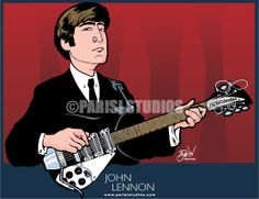 John Lennon playing his Rickenbacker Beatles Art, The Beatles, Hollywood Actor, Classic Hollywood, The Fab Four, Music Icon, John Lennon, Limited Edition Prints, Rock And Roll