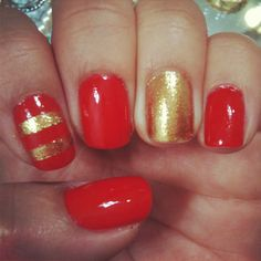 Holiday nails - including 'goldeneye' and 'clambake' #Essie #OPI