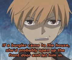 Kyo on how Tohru would treat a robber.
