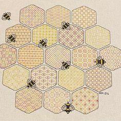 Bee Embroidery, Blackwork Embroidery, Embroidery Patterns, Blackwork Cross Stitch, Cross Stitching, Types Of Stitches, Black Work, Back Stitch, Honeycomb
