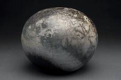 "saggar fired porcelain sphere, 10"" x 11"""