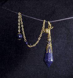 AAAAA Blue Gold SandStone Crystal Pendulum