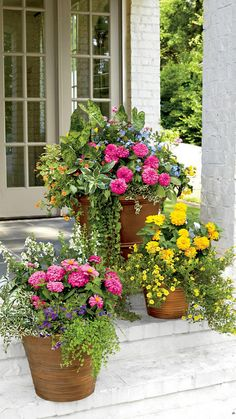 Front Porch Flowers, Plastic Planters, Pot Jardin, Fleurs Diy, Diy Décoration, Container Flowers, Fall Containers, Metal Containers, Cool Plants