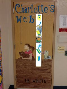 Teacher classroom door book craft decoration Charlottes's Web