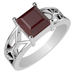 115ctw Genuine Ruby Square  Solid 925 Sterling Silver Ring Size7 * Visit the image link more details. Note:It is affiliate link to Amazon. #Jewelry