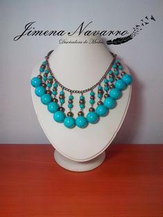 necklaces   collar  bolas aqua  piedra natural