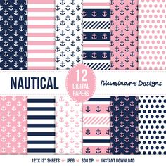 Nautical Digital Paper Navy Blue and Pink by IlluminareDesigns, $4.00
