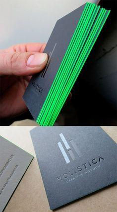 holistica neon green business card