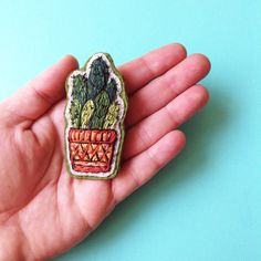 Awesome Etsy listing at https://www.etsy.com/pt/listing/236223364/cactus-embroidery-brooch-hand