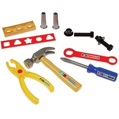 The Toy Construction Tool Set is a twelve piece tool set that includes: tools, screws, told and more. The pieces in the Tool Set are made of plastic.