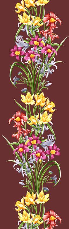 Textile Pattern Design, Pattern Art, Flower Branch, Flower Art, Flower Tattoo Designs, Flower Designs, Floral Motif, Floral Prints, Adobe Illustrator