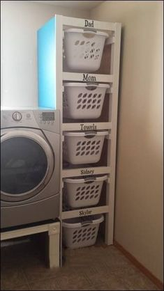 Organize your laundry room. Neat idea if you have the space. Organize your laundry room. Neat idea if you have the space. Organize your laundry room. Neat idea if you have the space. Laundry Room Organization, Laundry Room Design, Laundry Basket Storage, Laundry Area, Storage Room Organization, Small Laundry Rooms, Kitchen Storage, Laundry Basket Holder, Laundry Basket Dresser