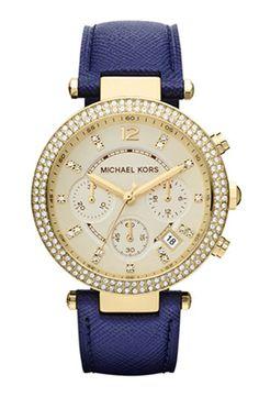 gorgeous // Michael Kors Parker Chronograph Leather Watch 39mm