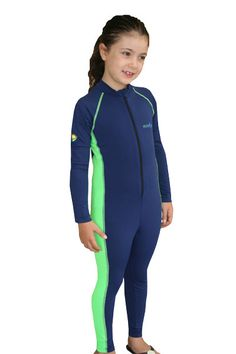 Girls Full Body Sun Protection Stinger Suit in Navy and Lime Color from Ecostinger.  Great protection from the sun and stingers in the sea