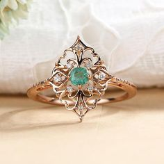 Art deco engagement ring Vintage antique Emerald engagement