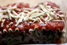 Gluten and Dairy Free Lasagna Rolls with Basil Cream
