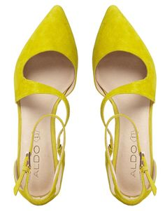 ALDO Flat Pointed Yellow Asymmetric Flat Shoes - not sure about the color...but they look cute.