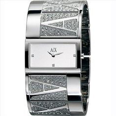 Armani Exchange Rhinestone Accents Black Dial Women's watch Jewelry Clasps, Metal Bracelets, Jewelry Watches, Hand Jewelry, Jewellery, Armani Watches For Women, Cool Watches, Women's Watches, Wrist Watches