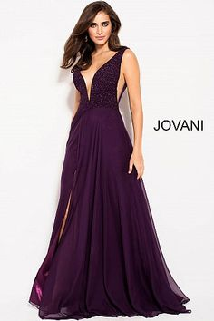Jovani Prom 48116 Purple Plunging Neckline V Back Chiffon Skirt Prom Dress 48116 Prom Dresses Jovani, Plus Size Prom Dresses, Homecoming Dresses, Formal Dresses, Long Dresses, Party Dresses, Bride Dresses, Ball Dresses, Ball Gowns