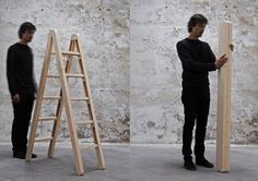 The Corner Ladder Folds In a Unique Way for Easy Storage (Video)