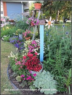 top flower junk garden posts 2012, container gardening, flowers, gardening, repurposing upcycling, succulents, In My Front Yard Flower Border I share my July flowers in full bloom