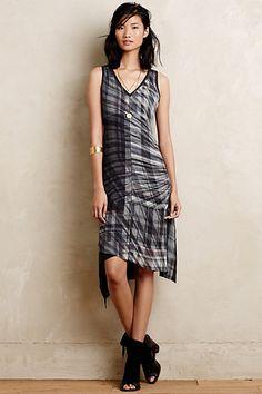 Cross-Plaid Silk Dress #anthrofave #anthropologie