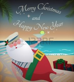Santa relaxing on tropic beach/Santa relaxing on tropic beach with martini,gifts