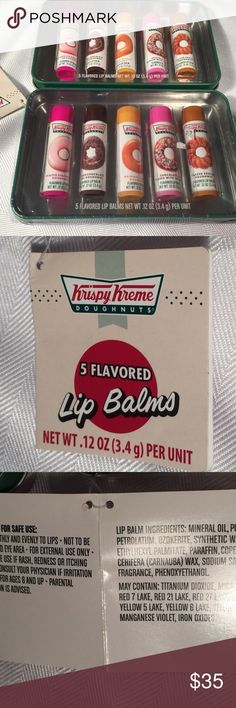 2 Sets of Krispy Kreme Doughnuts Flavored Lip Balm 2 Sets of Krispy Kreme Doughnuts Flavored Lip Balm Gift Sets 5 pc each  Each set is 5 pieces.  One set is in original shrink wrap.   One set is new, but the original shrink wrap is missing. Krispy Kreme Makeup Lip Balm & Gloss