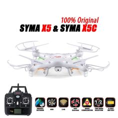 100% Original SYMA X5C (Upgrade Version) RC Drone 6-Axis Remote Control Helicopter Quadcopter With 2MP HD Camera or X5 No Camera  Price: 53.00 & FREE Shipping  #tech|#electronics|#bluetooth|#computers