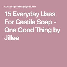 15 Everyday Uses For Castile Soap - One Good Thing by Jillee