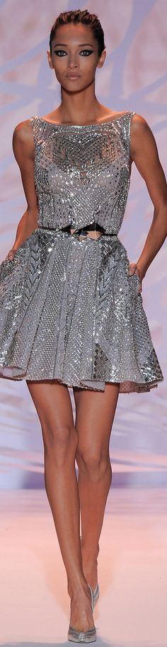 What a beautiful Zuhair Murad dress! I love the metallic silver sparkle sleeveless a line dress. The belt is amazing too and goes great with the dress!