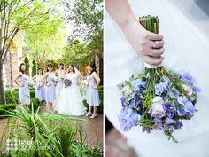 Purple and lilac bridal party with feminine bouquets | Hagerty Photography | villasiena.cc