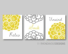 Floral Relax Soak Unwind Print Trio by RhondavousDesigns2 on Etsy