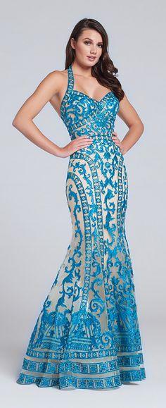 Prom Dresses 2017 - Ellie Wilde for Mon Cheri - Sequin Lace Halter Prom Dress - Style No. EW117056