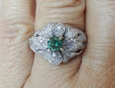 1.40ct Rare natural aqau green diamond & white accent diamond14k white gold ring. $1,250.00, via Etsy.  AMAZING