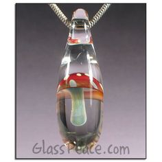 Magic Mushroom Pendant - Red and White Glass Shroom Bead by Glass Peace $20.95