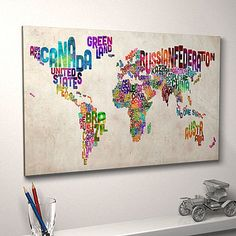 Fab typography world map. Wish I'd seen this for my friend Jodie's last Birthday!