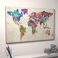 Typography World Map Print