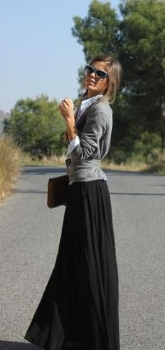 Love the maxi skirt and cardigan. Classic